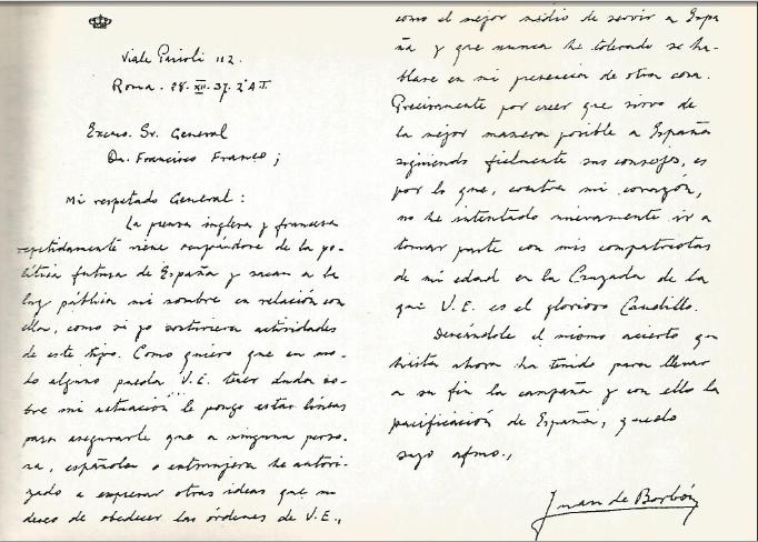 Carta-Don-Juan-Borbom-a-Francisco-Franco-orignal
