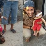 Imagen escalofriante de una bebé pateando la cabeza a un hombre decapitado