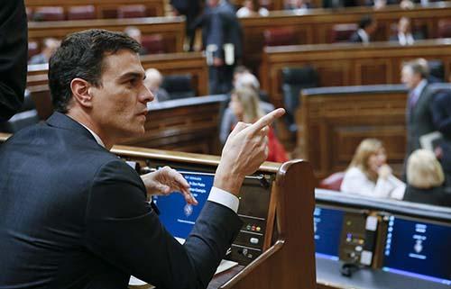 Pedro Sánchez en el Congreso de los diputados. Cuando era Secretario General del PSOE