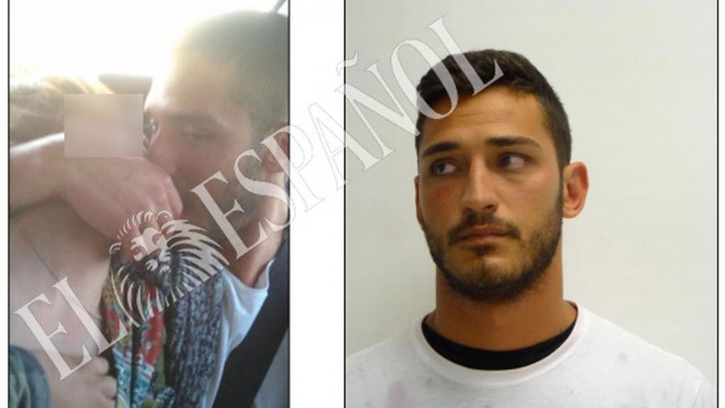 Alfonso Jesús Cabezuelo, en el vídeo con la denunciante, y tras la detención en Pamplona