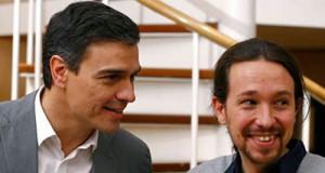 El socialista Pedro Sánchez y el comunista Pablo Iglesias
