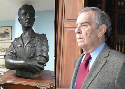 Fotos del busto de Rafael Arias de Velasco y Sarandeses, (conservado en la Hermandad de Defensores de Oviedo), y José María García de Tuñón Aza