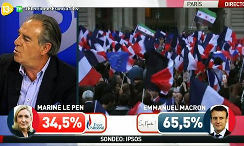 Banderas islamistas en la celebración de Macron tras su victoria electoral en Francia