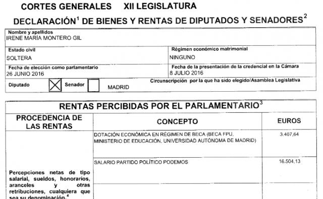 Rentas Irene Montero Podemos