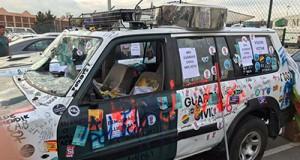 Coche destrozado Guardia Civil