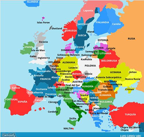 Mapa separatismo en Europa