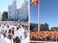 Concentración de Podemos y de Unidad de España