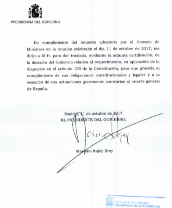 Documento de Mariano Rajoy a Puigdemont