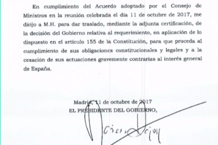 Documento Rajoy a Puigdemont