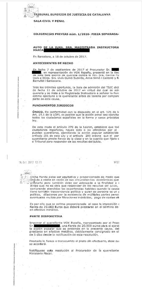 Documento de VOX del TSJC