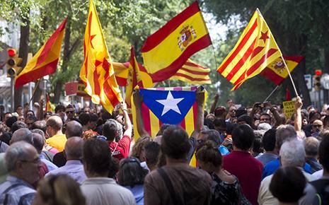 banderas en Cataluña