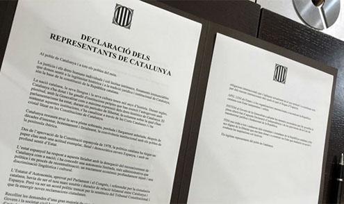 Documento declaración independencia de Catalunya