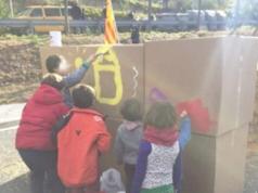 Niños piquetes huelga Cataluña