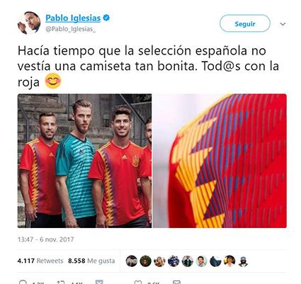 Twitter Pablo Iglesias camiseta selección