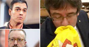 Pedro Sánchez y Girauta consideran una humillación que hagan a Puigdemont besar la bandera de España