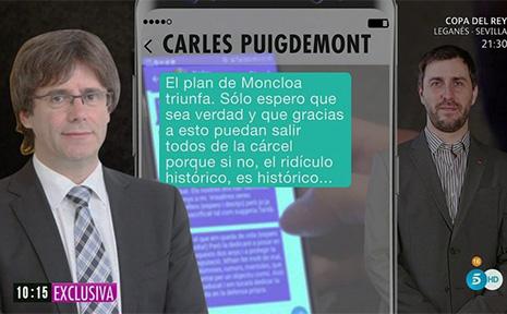 """Carles Puigdemont habla con Toni Comín: """"Me han sacrificado. Esto se acaba. Moncloa triunfa"""""""