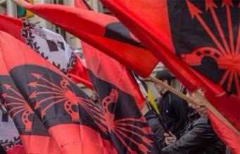 Banderas de Falange Española. Manifestación Banderas de Falange Española