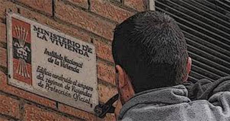 Placa del ministerio de la vivienda. Comunicado de Falange Española de las JONS