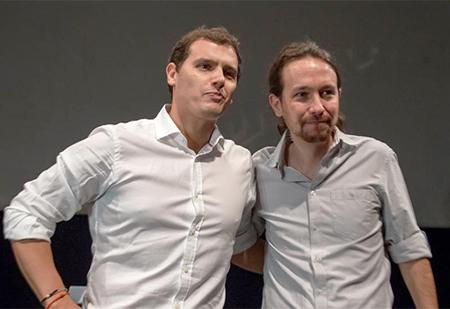 Albert Rivera y Pablo Iglesias en el debate para las elecciones generales
