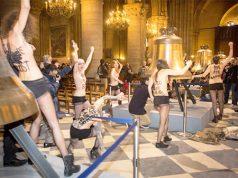 Feministas radicales atacan desnudas una Iglesia Católica