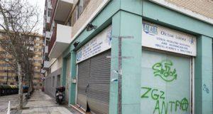Local destrozado de Victor Laínez tras ser asesinado por un militante de extrema izquierda