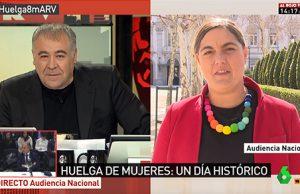 La periodista Loreto ochando llama a la huelga feminista y a las barricadas en la Sexta de Antonio García Ferreras en Al Rojo Vivo