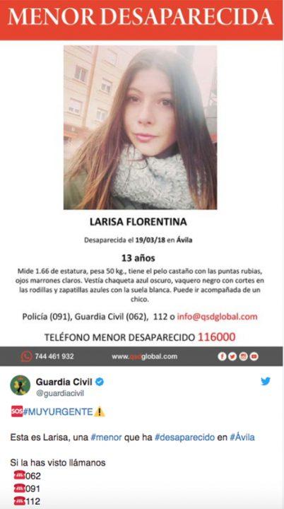 Larisa Florentina desaparecida en Avila