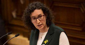 Marta Rovira en el Parlament de Cataluña con el lazo amarillo
