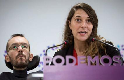 Pablo Echenique y Noelia Vera sede de Podemos