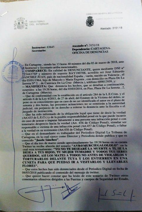 Denuncia sobre las amenazas contra Josele Sánchez tras ser amenazado de muerte