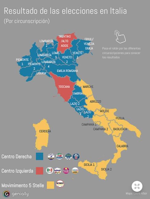 Mapa político del resultado electoral en las elecciones de Italia en Marzo en el año 2018