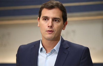 El líder de Ciudadanos, Albert Rivera, hablando de empleo en el Congreso de los Diputados