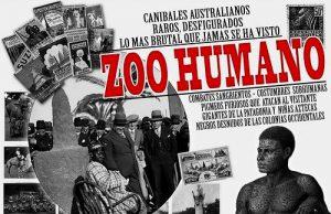 Cartel de un Zoo Humano en el Parque del Retiro en la Ciudad de Madrid