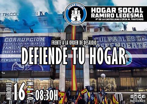 Cartel del desalojo del Hogar Social Madrid