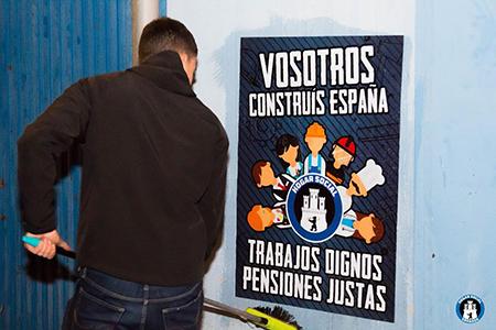 Hogar Social campaña Vosotros construís España. Trabajos dignos. Pensiones justas
