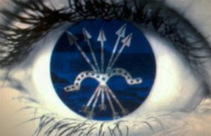 mirada falangistas. Ojos con el yugo y las flechas