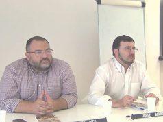 Norberto Pico y Jorge Garrido de Falange Española de las JONS en un acto político