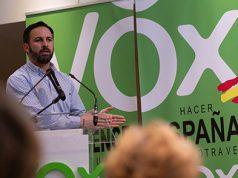 Santiago Abascal en un mitin político de VOX