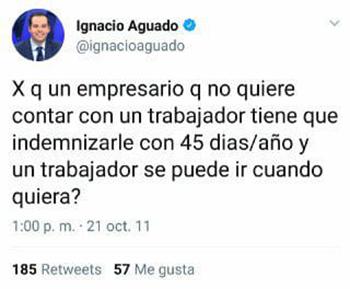 El tuit de Ignacio Aguado sobre los trabajadores del 1 de mayo
