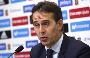 Julen Lopetegui en una rueda de prensa de la selección española