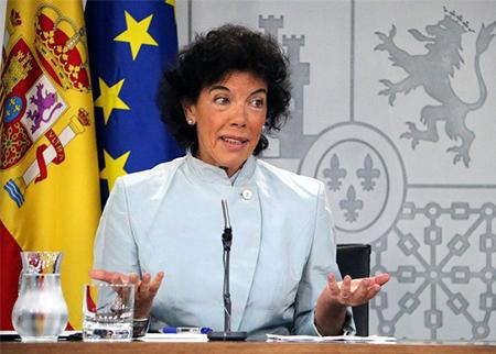 Isabel Celaá en su primera rueda de prensa como ministra portavoz del gobierno socialista de Pedro Sánchez