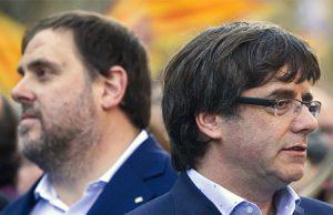 Oriol Junqueras y Carles Puigdemont en un acto separatista en Barcelona