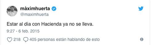 Twitter de Maxim Huerta sobre Hacienda