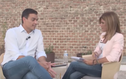 Pedro Sánchez borracho en una entrevista a los medios de comunicación