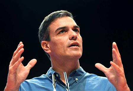 Pedro Sánchez en un discurso del PSOE