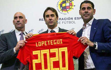 Luis Rubiales, Julen Lopetegui y Fernando Hierro