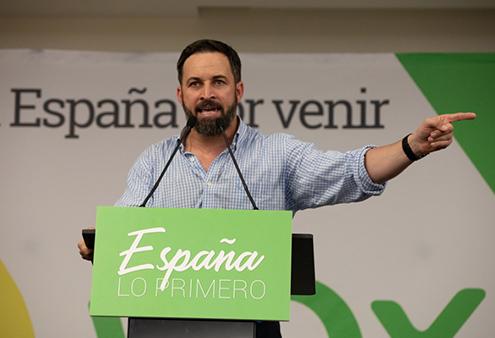 Santiago Abascal en un acto de VOX en Barcelona