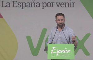 Santiago Abascal en un acto político de VOX