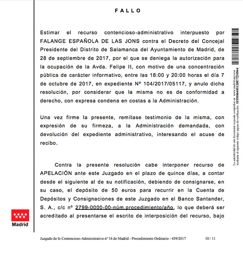 Demanda de Falange Española de las JONS contra el Ayuntamiento de Madrid de Manuela Carmena