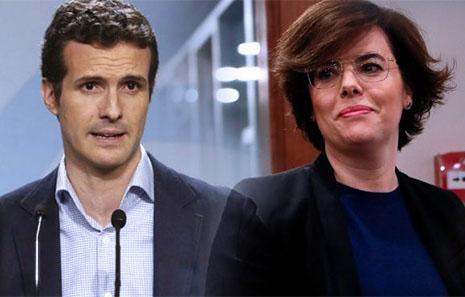 Pablo Casado y Soraya se enfrentan por el Partido Popular